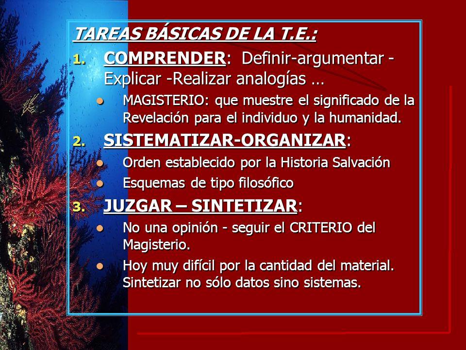 TAREAS BÁSICAS DE LA T.E.: