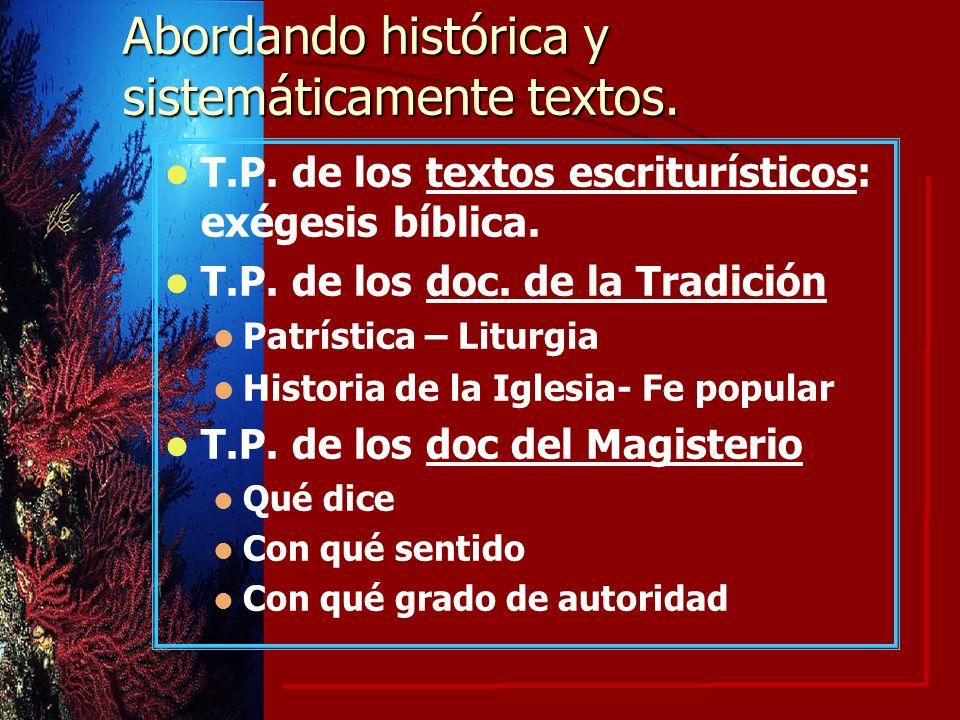Abordando histórica y sistemáticamente textos.