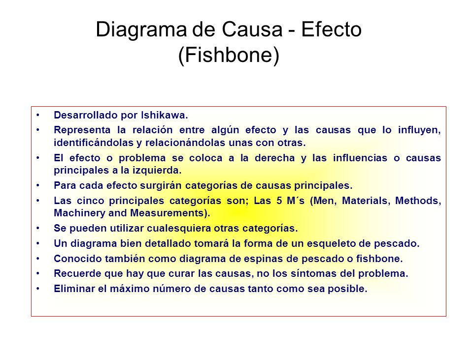 Diagrama de Causa - Efecto (Fishbone)