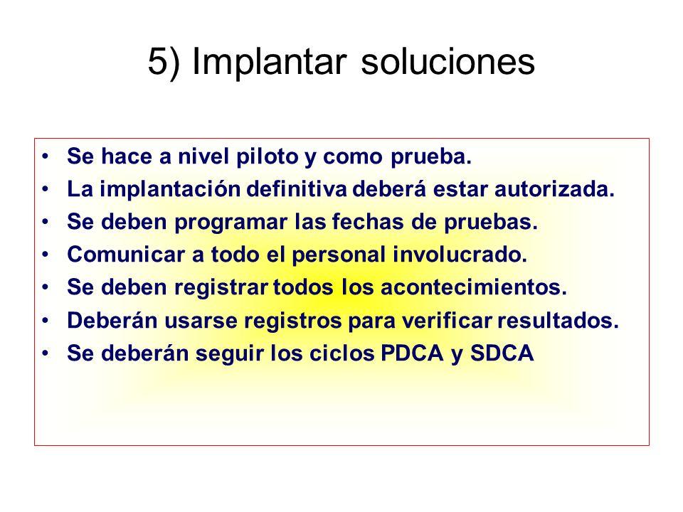 5) Implantar soluciones