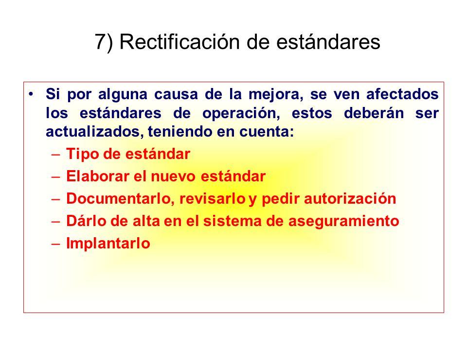 7) Rectificación de estándares
