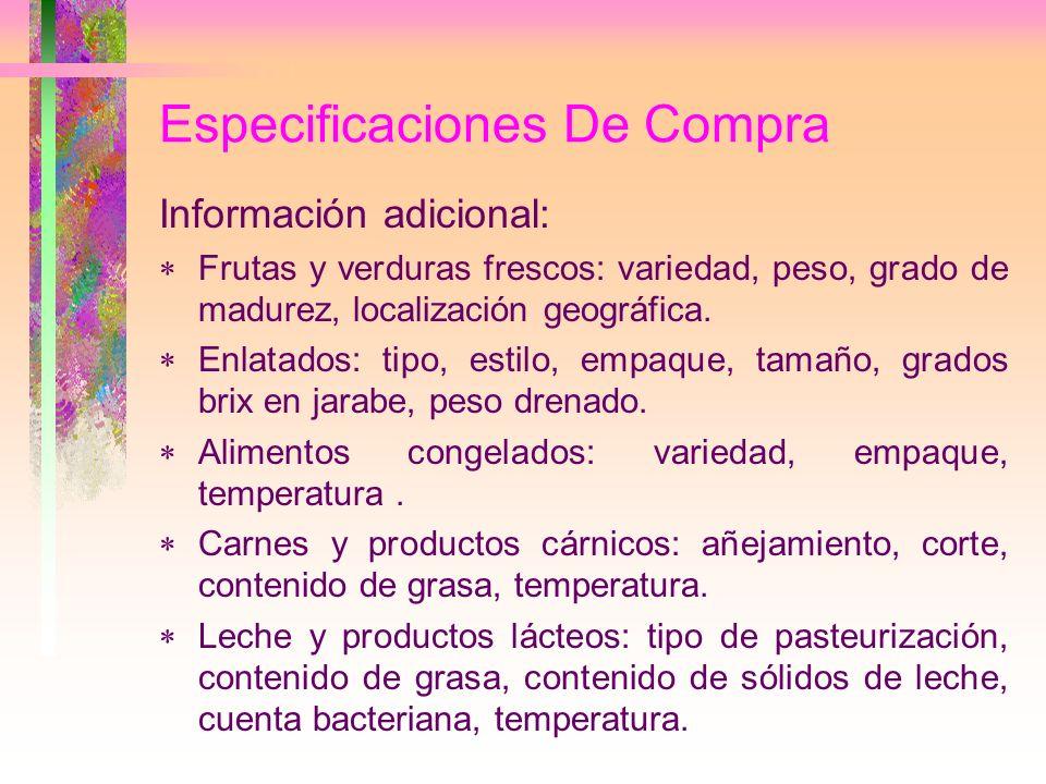 Especificaciones De Compra