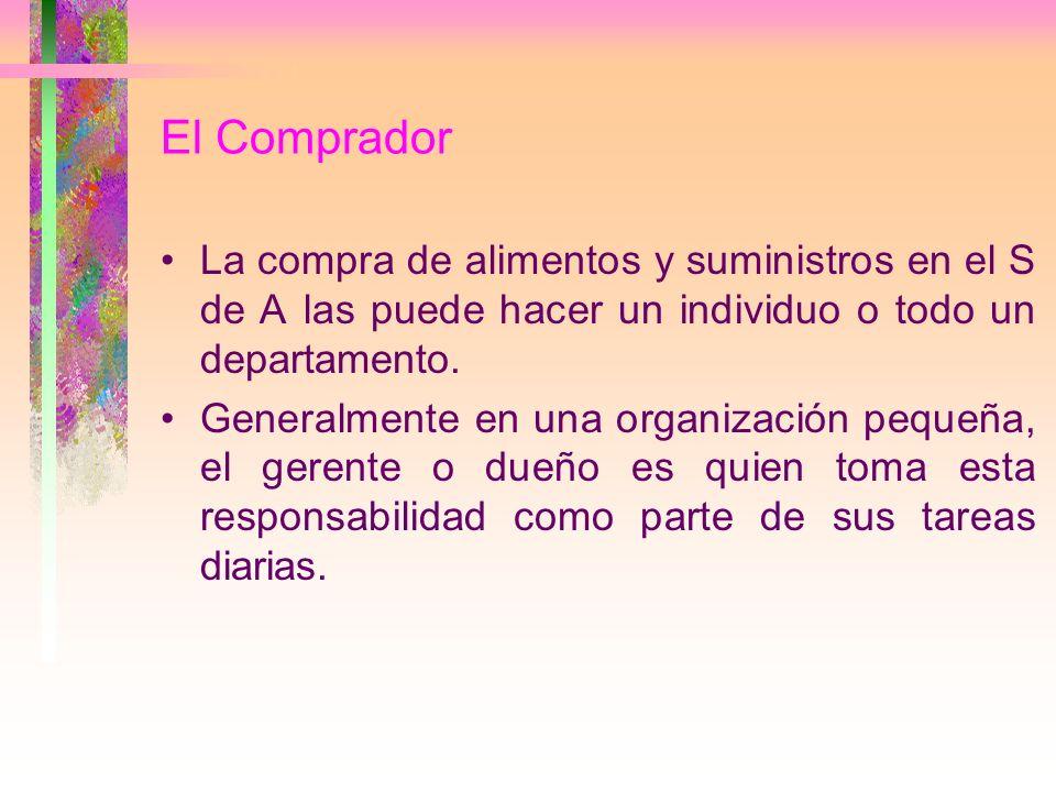 El Comprador La compra de alimentos y suministros en el S de A las puede hacer un individuo o todo un departamento.