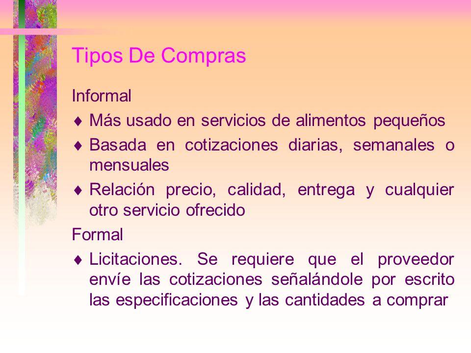 Tipos De Compras Informal Más usado en servicios de alimentos pequeños