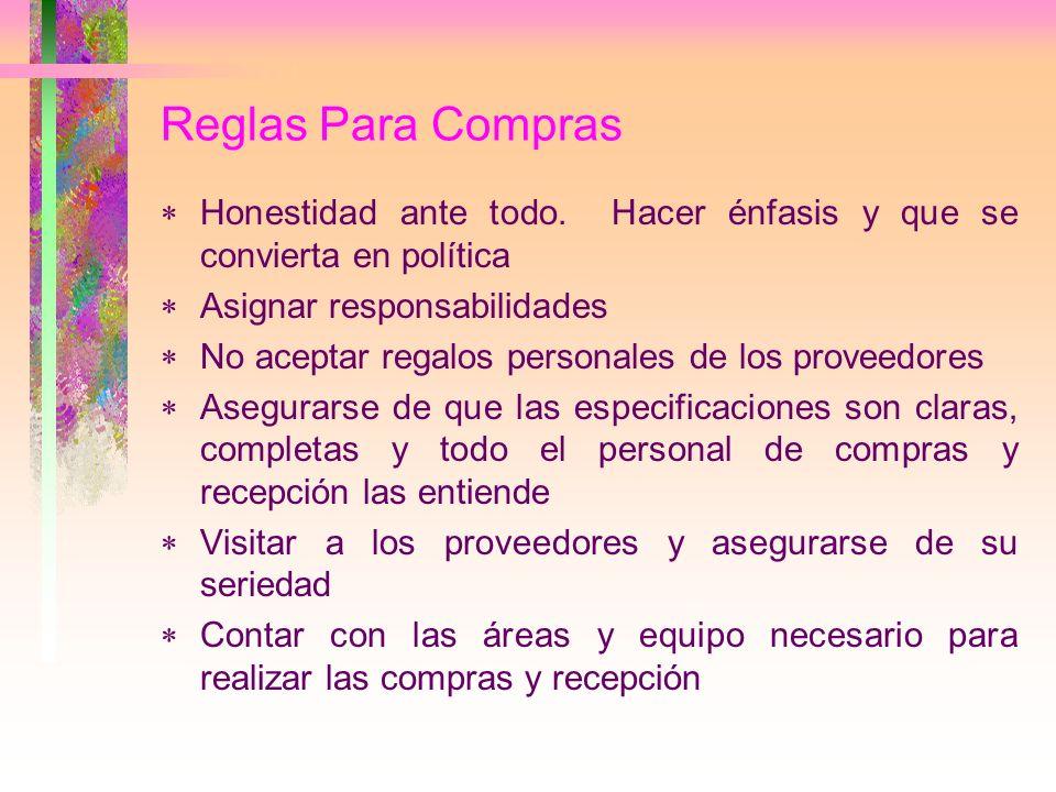 Reglas Para ComprasHonestidad ante todo. Hacer énfasis y que se convierta en política. Asignar responsabilidades.