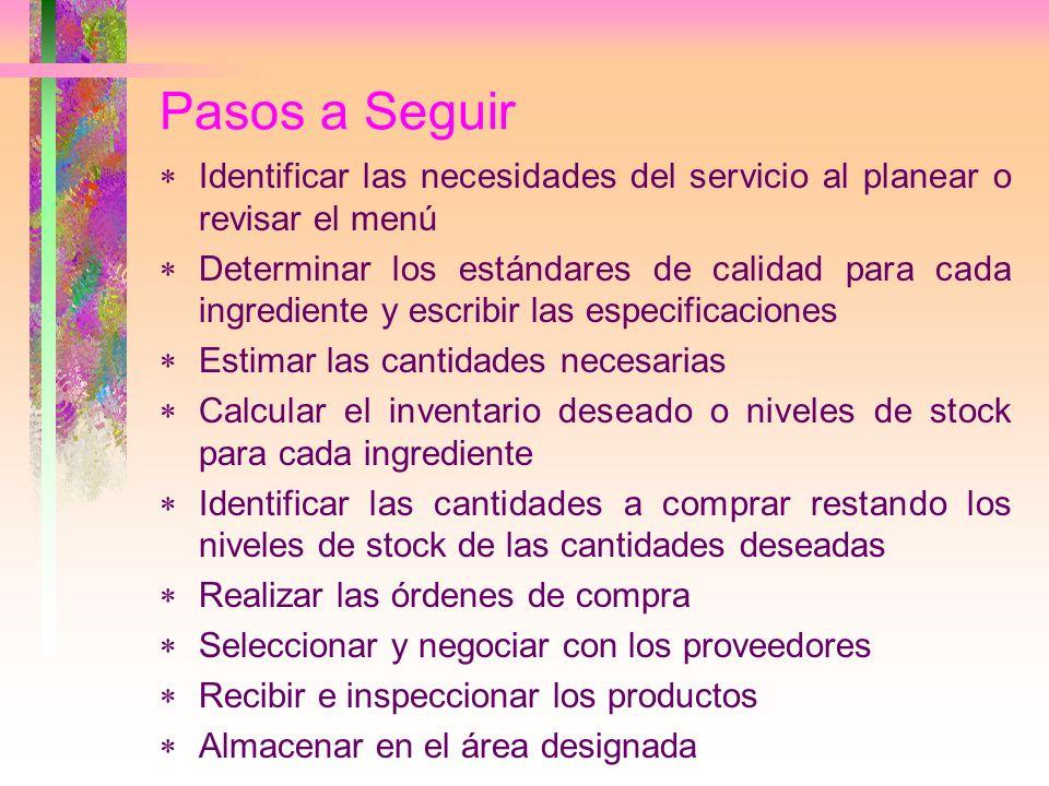 Pasos a Seguir Identificar las necesidades del servicio al planear o revisar el menú.