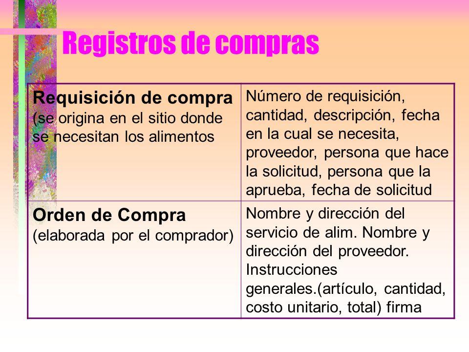 Registros de compras Requisición de compra (se origina en el sitio donde se necesitan los alimentos.