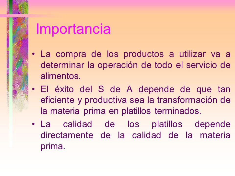 Importancia La compra de los productos a utilizar va a determinar la operación de todo el servicio de alimentos.