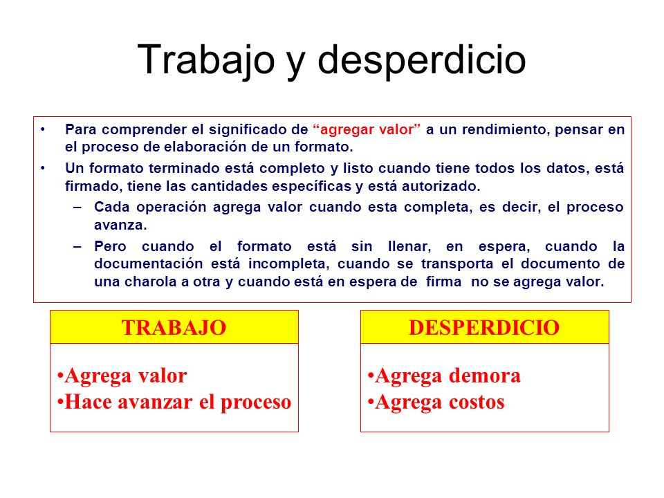 Trabajo y desperdicio TRABAJO DESPERDICIO Agrega valor