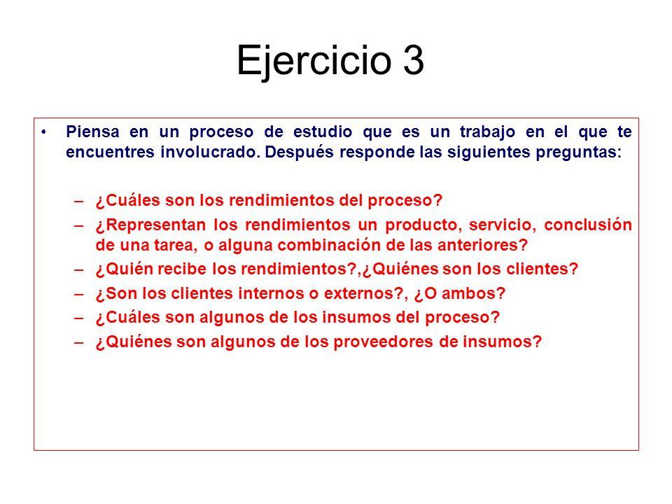 Ejercicio 3 Piensa en un proceso de estudio que es un trabajo en el que te encuentres involucrado. Después responde las siguientes preguntas: