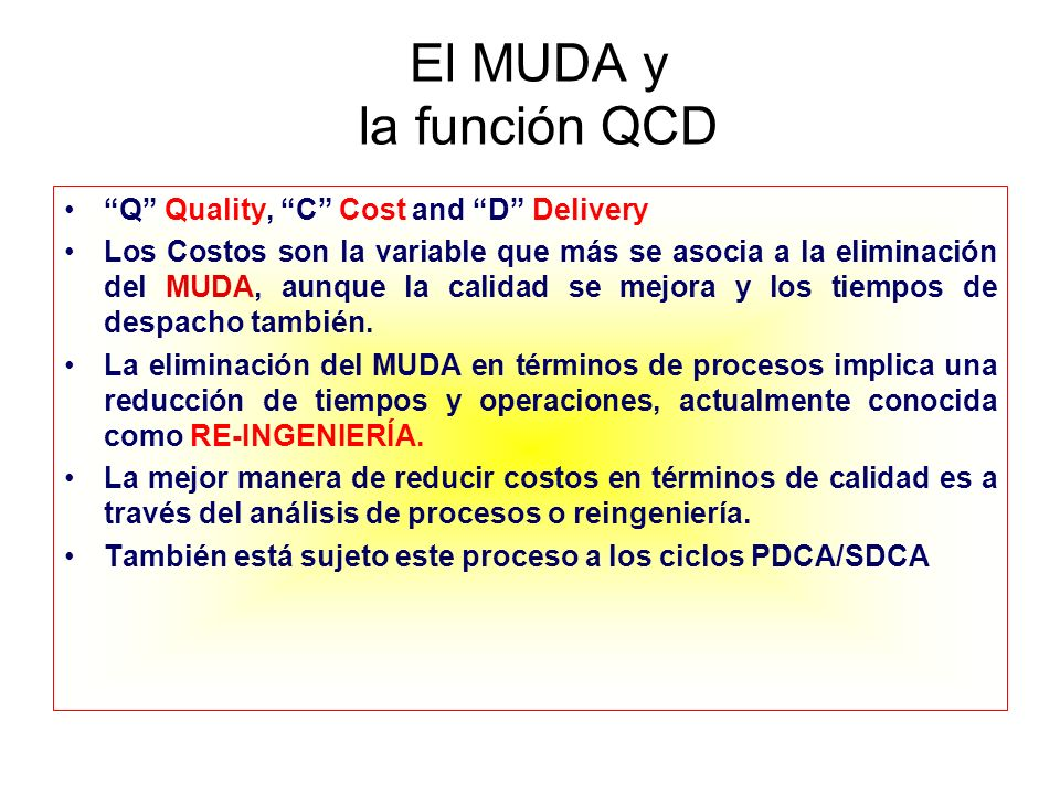 El MUDA y la función QCD Q Quality, C Cost and D Delivery