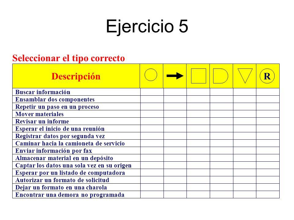 Ejercicio 5 Seleccionar el tipo correcto Descripción R