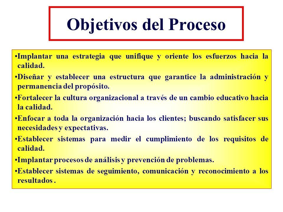 Objetivos del Proceso Implantar una estrategia que unifique y oriente los esfuerzos hacia la calidad.