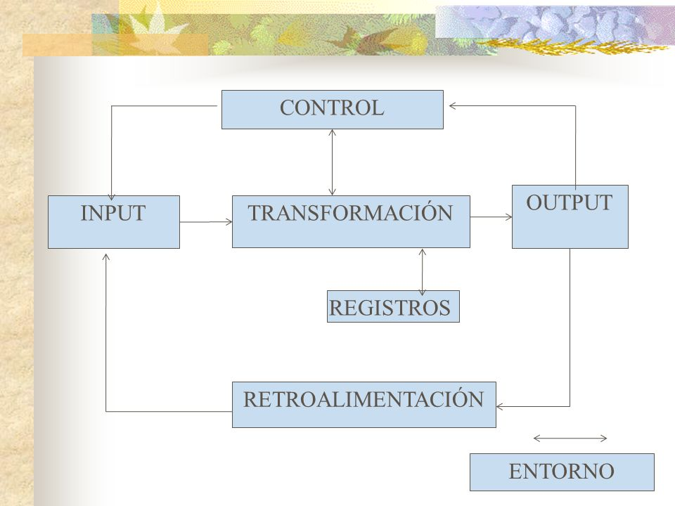 CONTROL OUTPUT INPUT TRANSFORMACIÓN REGISTROS RETROALIMENTACIÓN ENTORNO