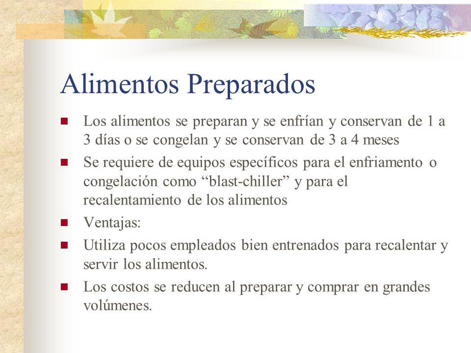 Alimentos Preparados Los alimentos se preparan y se enfrían y conservan de 1 a 3 días o se congelan y se conservan de 3 a 4 meses.