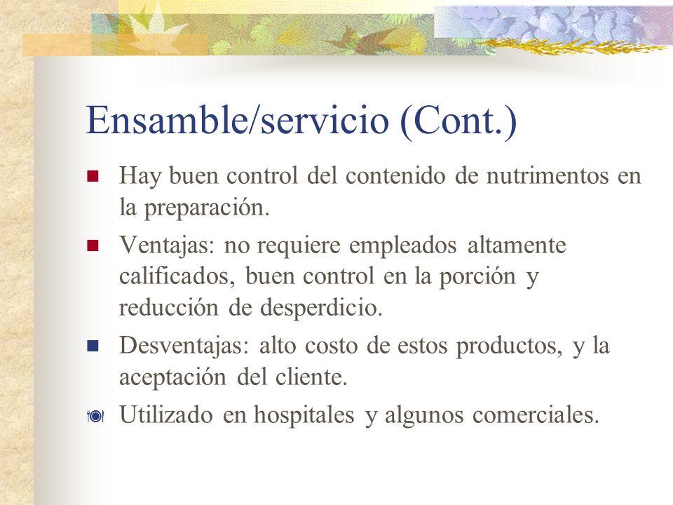 Ensamble/servicio (Cont.)