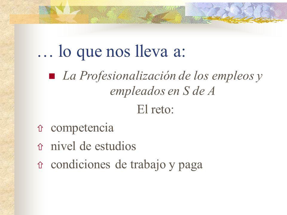 La Profesionalización de los empleos y empleados en S de A
