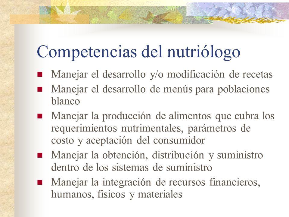 Competencias del nutriólogo