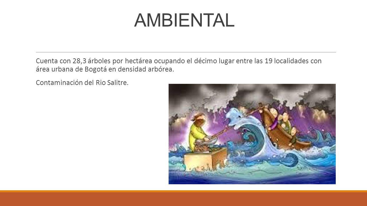 AMBIENTAL Cuenta con 28,3 árboles por hectárea ocupando el décimo lugar entre las 19 localidades con área urbana de Bogotá en densidad arbórea.