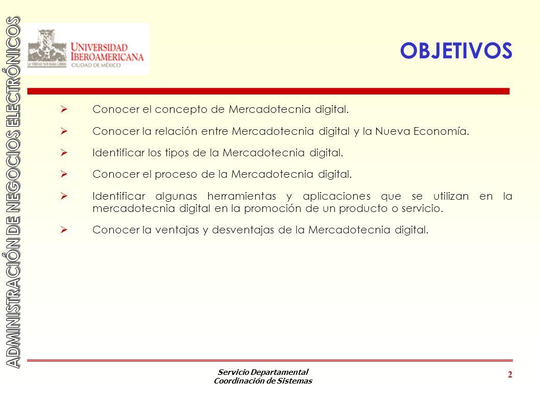 OBJETIVOS Conocer el concepto de Mercadotecnia digital.