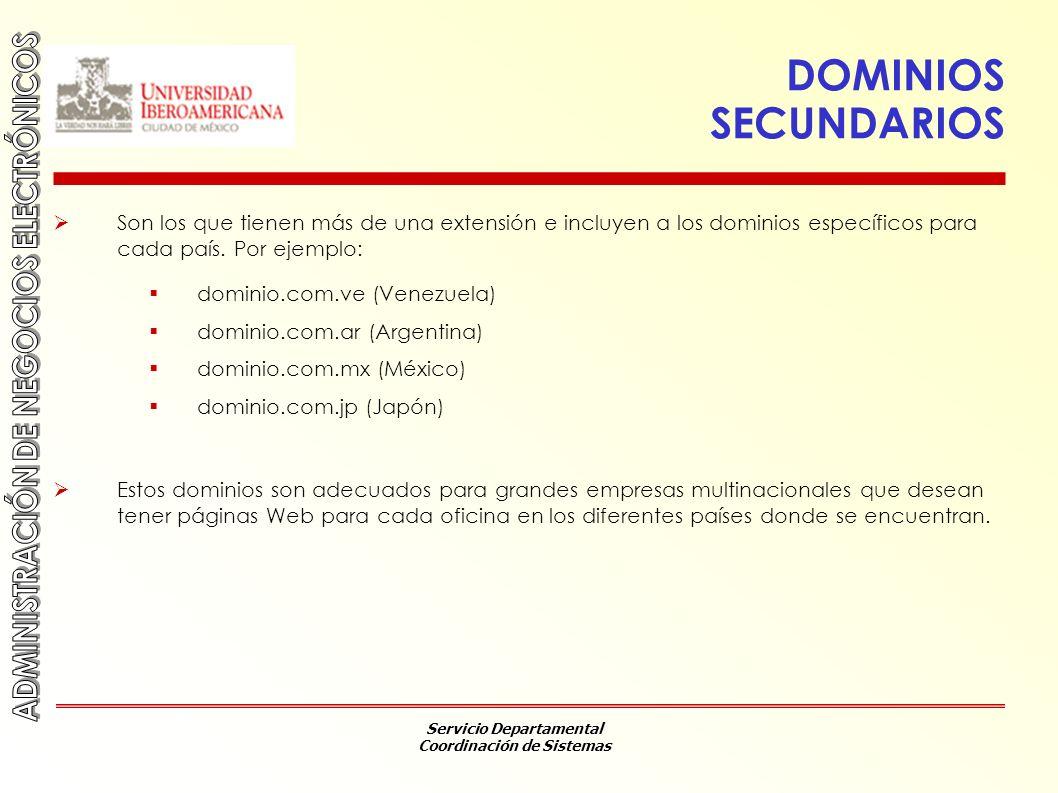DOMINIOS SECUNDARIOS Son los que tienen más de una extensión e incluyen a los dominios específicos para cada país. Por ejemplo: