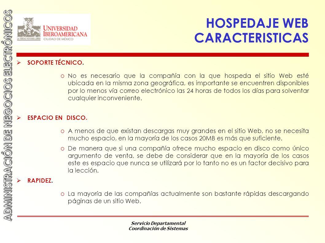 HOSPEDAJE WEB CARACTERISTICAS