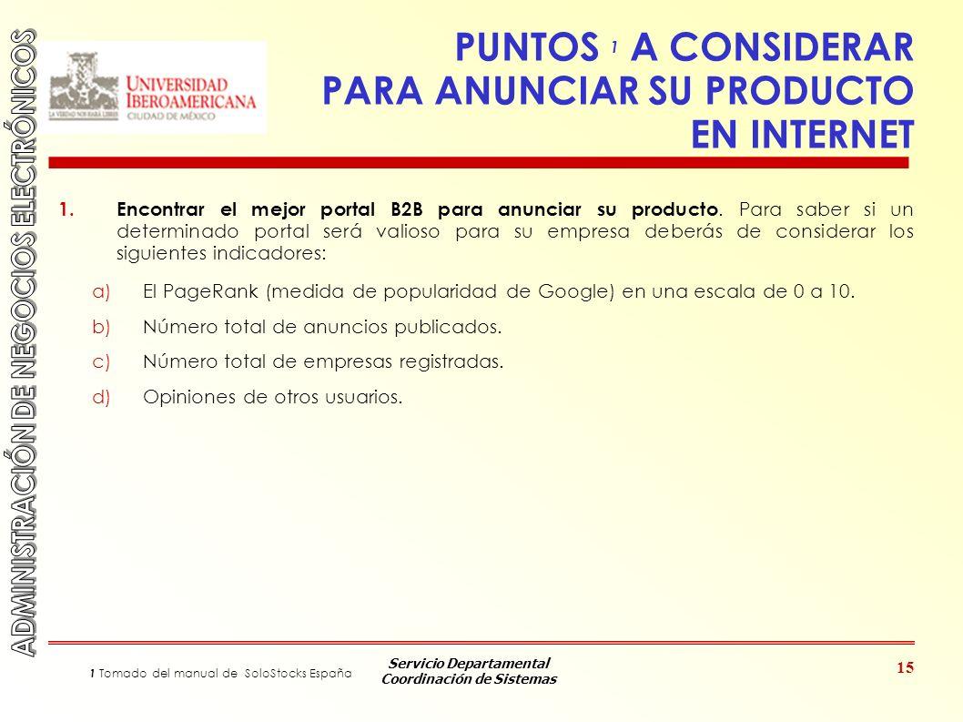 PUNTOS 1 A CONSIDERAR PARA ANUNCIAR SU PRODUCTO EN INTERNET