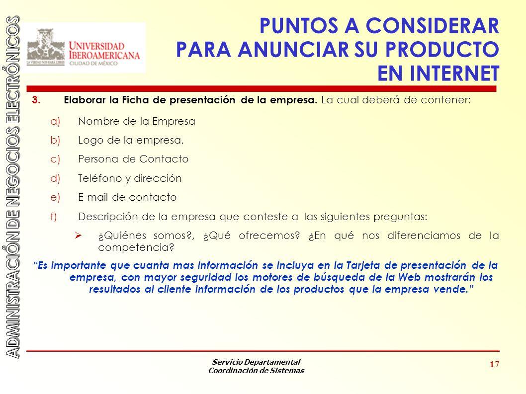PUNTOS A CONSIDERAR PARA ANUNCIAR SU PRODUCTO EN INTERNET