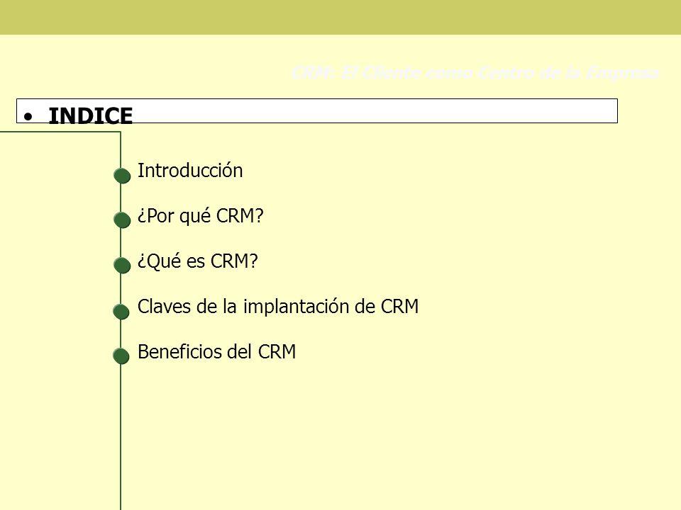 INDICE Introducción ¿Por qué CRM ¿Qué es CRM