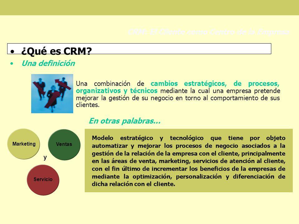 ¿Qué es CRM CRM: El Cliente como Centro de la Empresa Una definición