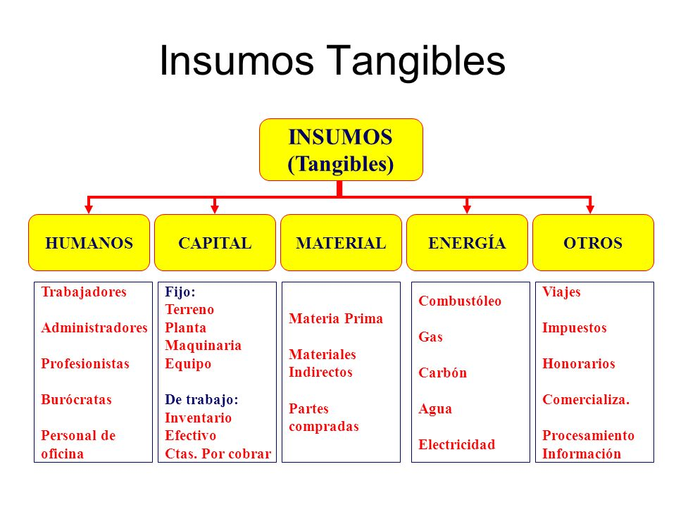 Insumos Tangibles INSUMOS (Tangibles) HUMANOS CAPITAL MATERIAL ENERGÍA