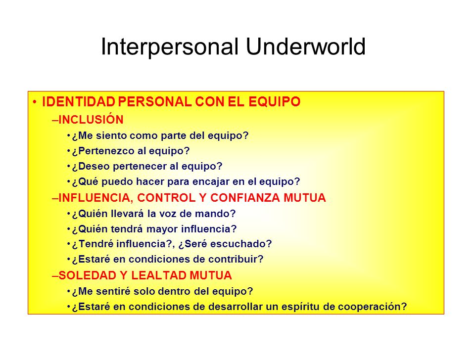 Interpersonal Underworld