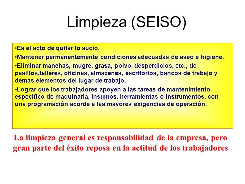 Limpieza (SEISO) Es el acto de quitar lo sucio. Mantener permanentemente condiciones adecuadas de aseo e higiene.
