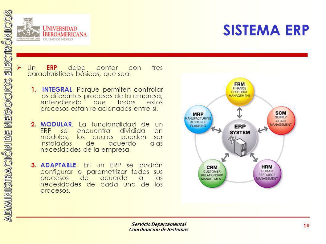 SISTEMA ERP Un ERP debe contar con tres características básicas, que sea: