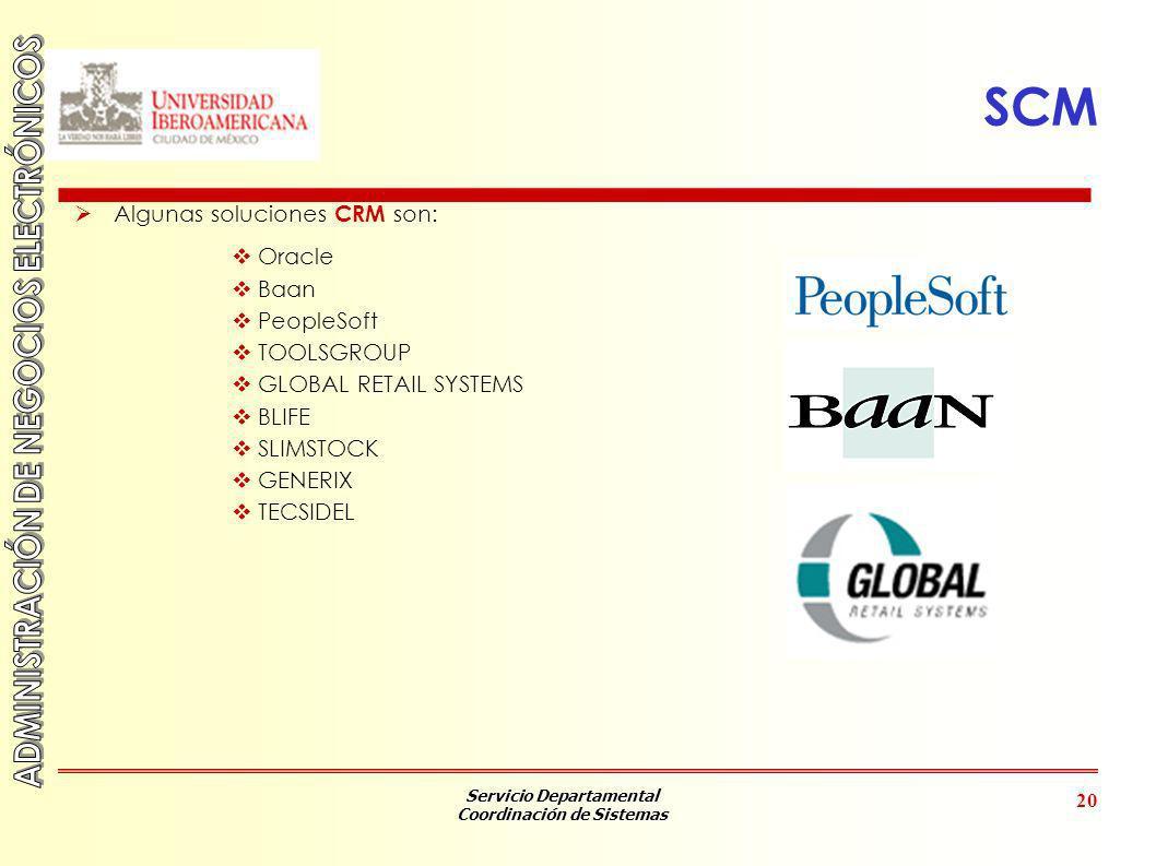 SCM Algunas soluciones CRM son: Oracle Baan PeopleSoft TOOLSGROUP