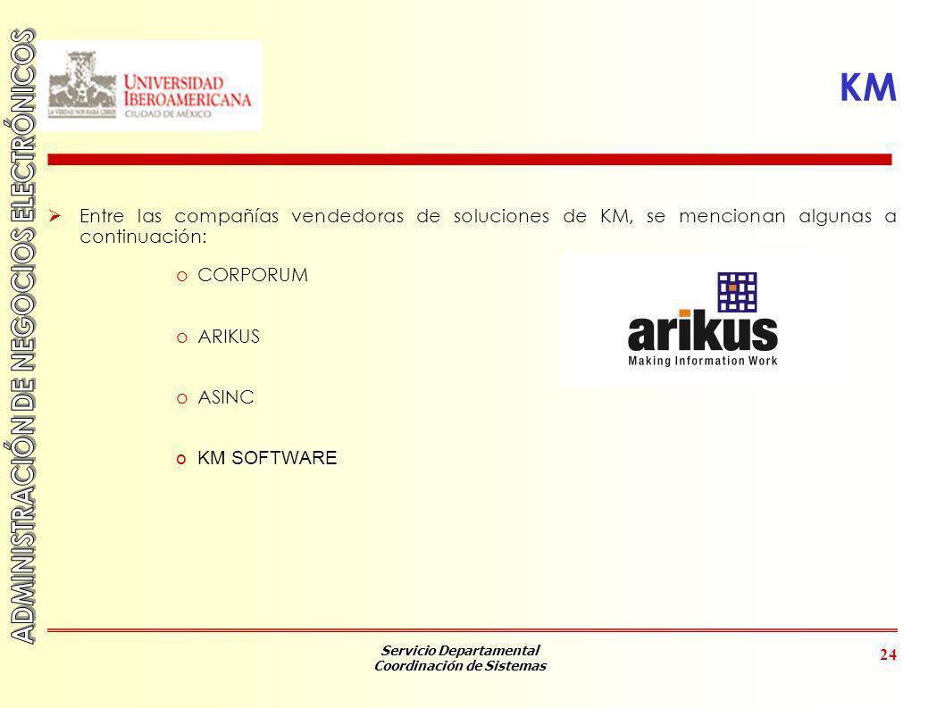 KM Entre las compañías vendedoras de soluciones de KM, se mencionan algunas a continuación: CORPORUM.