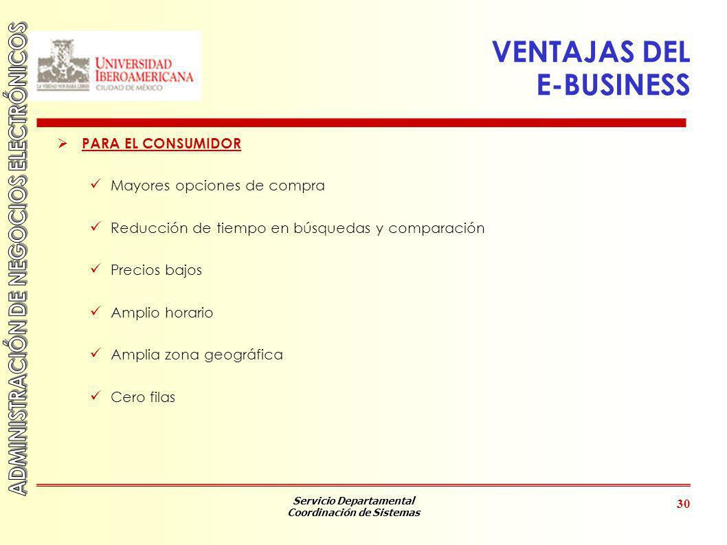VENTAJAS DEL E-BUSINESS