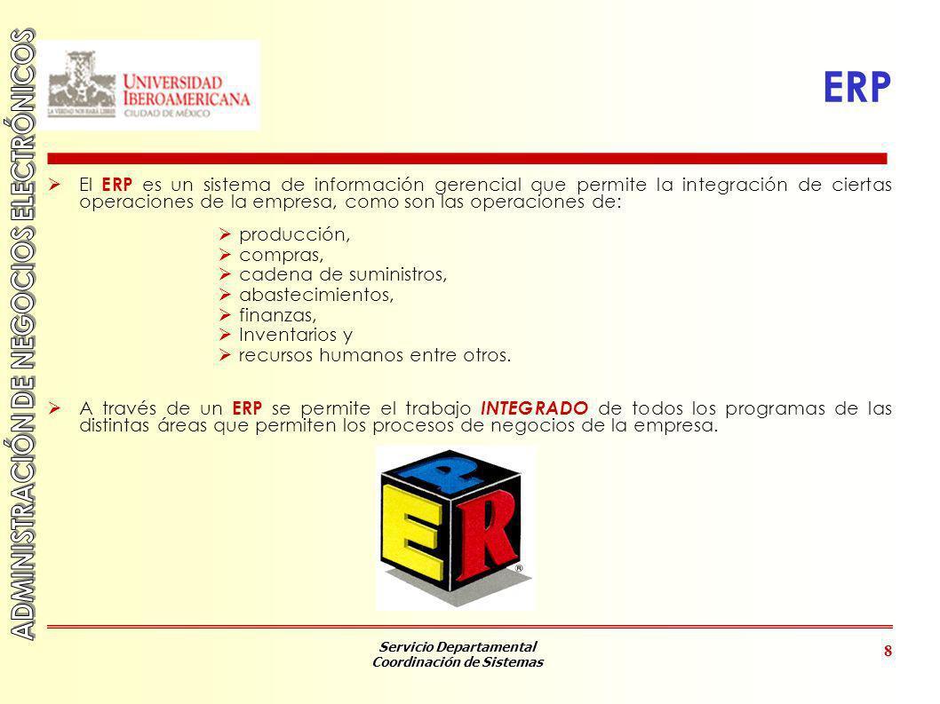 ERP El ERP es un sistema de información gerencial que permite la integración de ciertas operaciones de la empresa, como son las operaciones de: