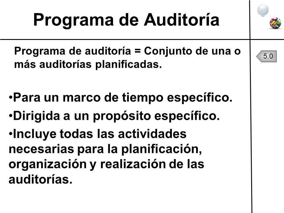 Programa de Auditoría Para un marco de tiempo específico.