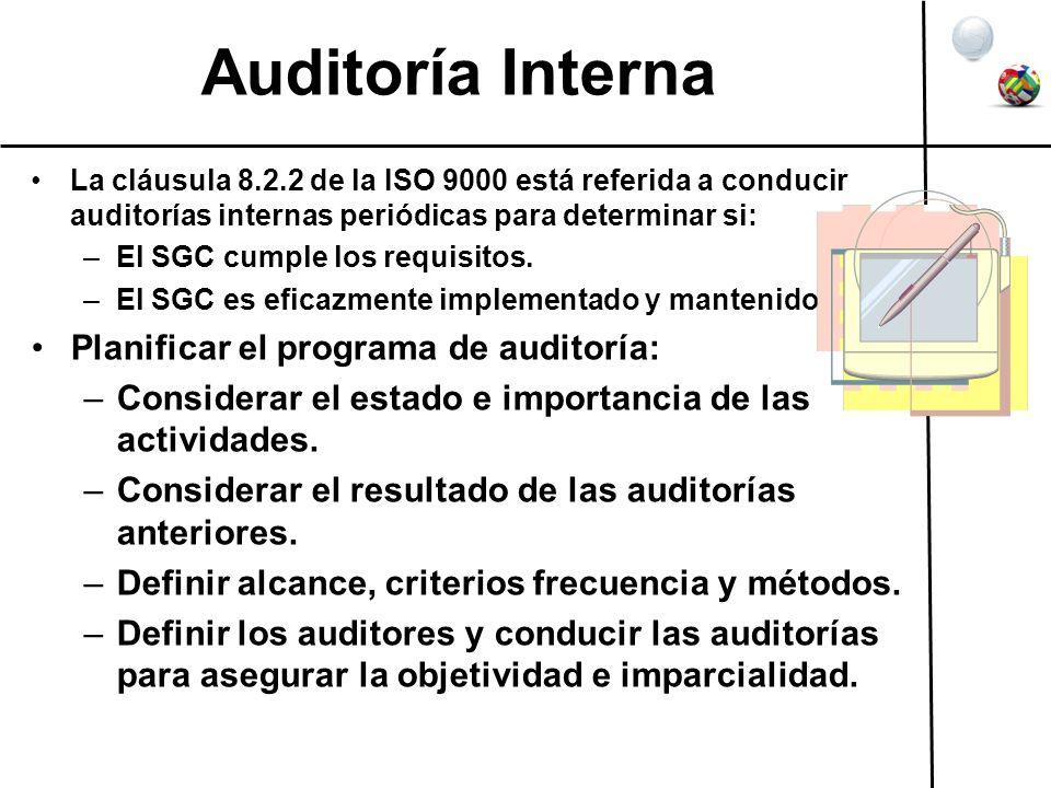 Auditoría Interna Planificar el programa de auditoría:
