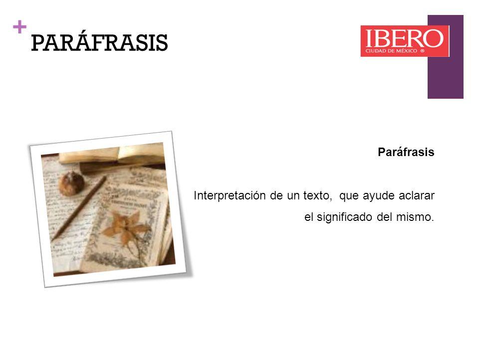 PARÁFRASIS Paráfrasis