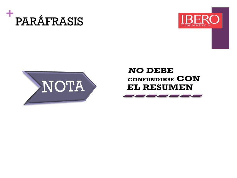 PARÁFRASIS NO DEBE CONFUNDIRSE CON EL RESUMEN NOTA