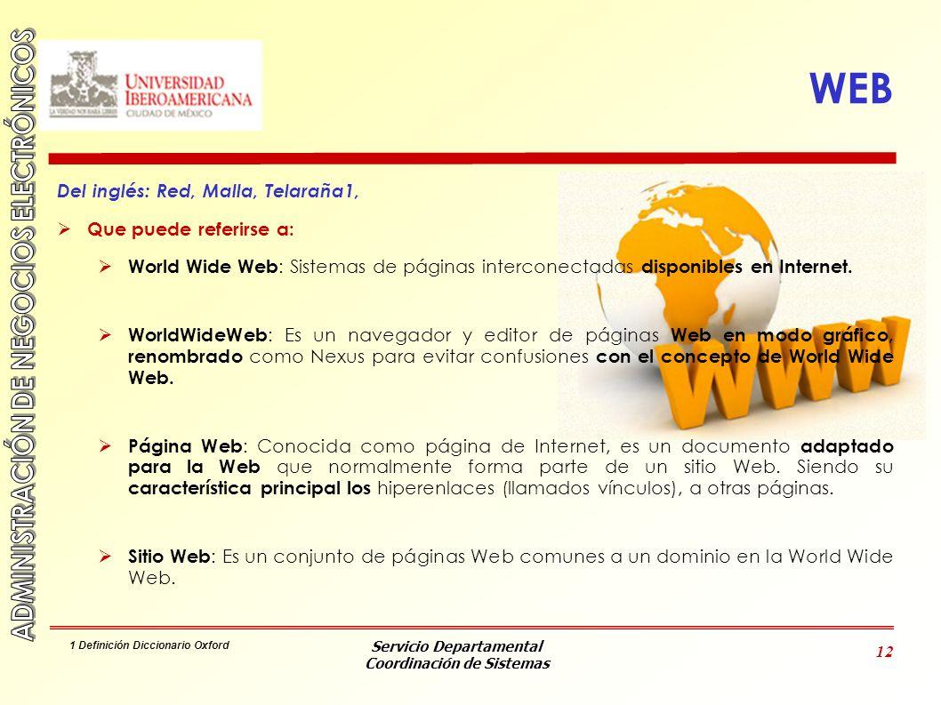 WEB Del inglés: Red, Malla, Telaraña1, Que puede referirse a: