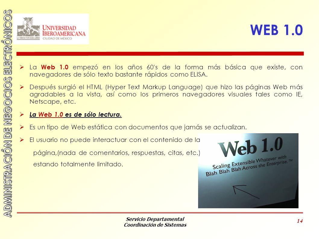 WEB 1.0La Web 1.0 empezó en los años 60 s de la forma más básica que existe, con navegadores de sólo texto bastante rápidos como ELISA.