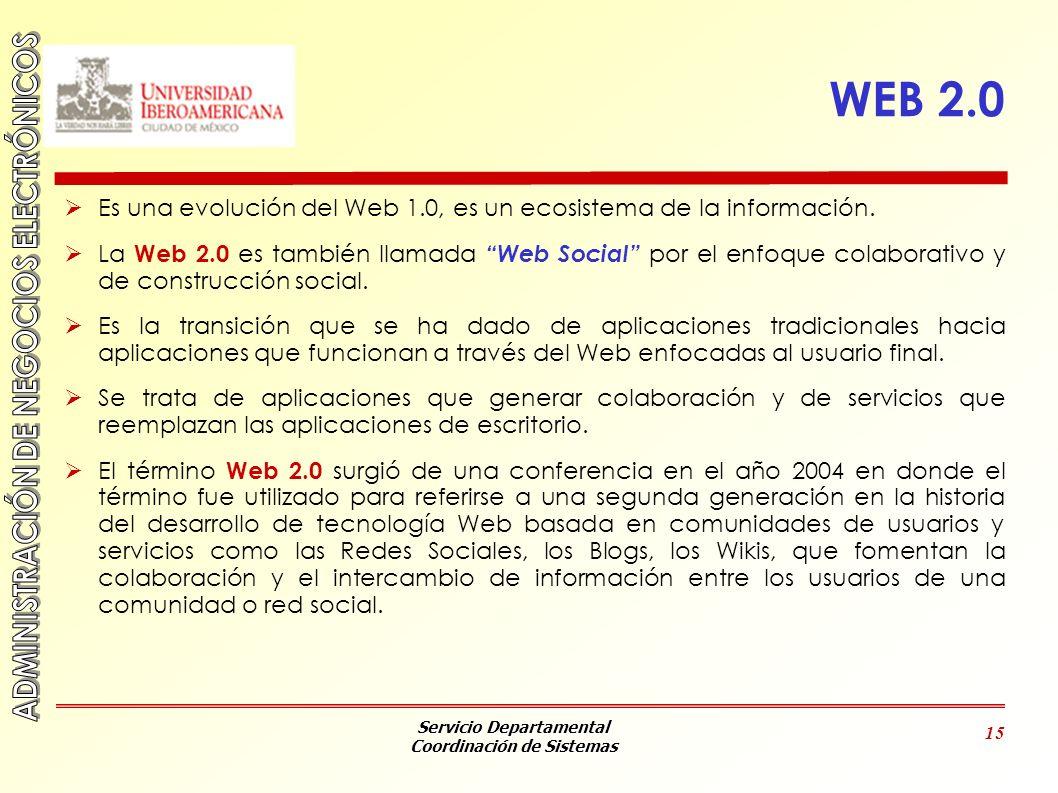 WEB 2.0 Es una evolución del Web 1.0, es un ecosistema de la información.