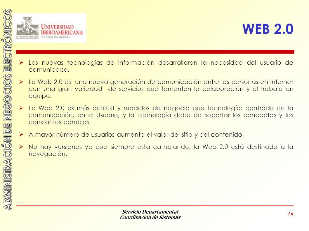 WEB 2.0 Las nuevas tecnologías de información desarrollaron la necesidad del usuario de comunicarse.