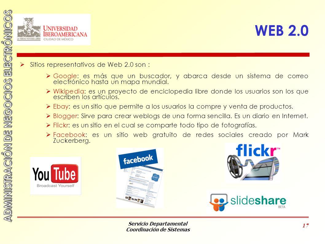 WEB 2.0 Sitios representativos de Web 2.0 son :