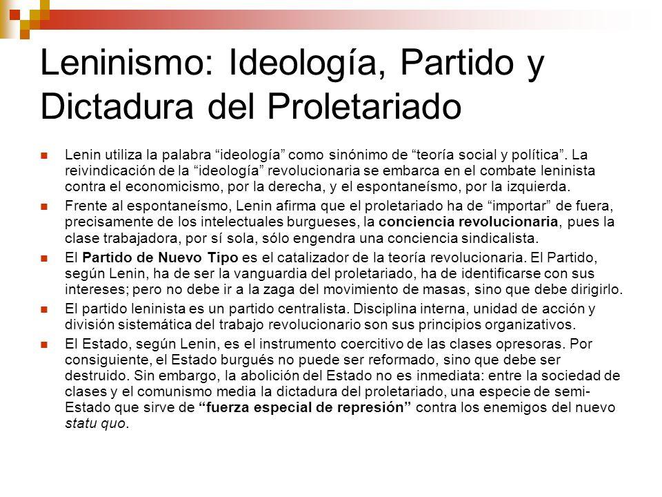 Leninismo: Ideología, Partido y Dictadura del Proletariado