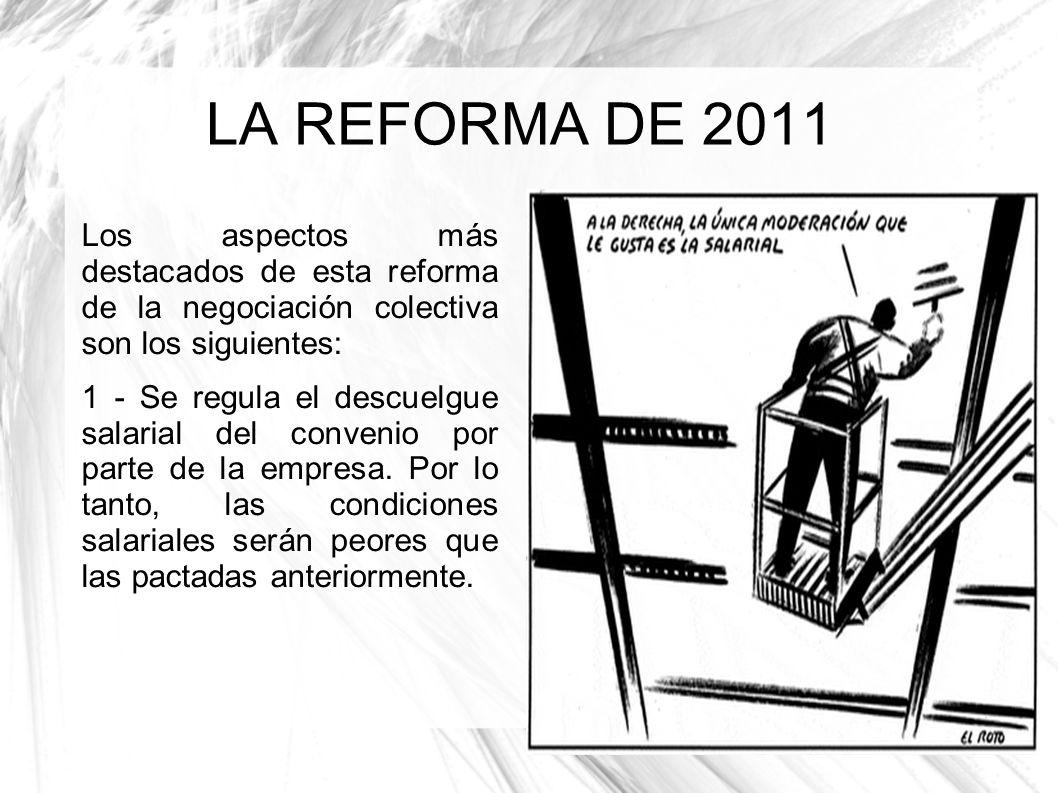 LA REFORMA DE 2011 Los aspectos más destacados de esta reforma de la negociación colectiva son los siguientes: