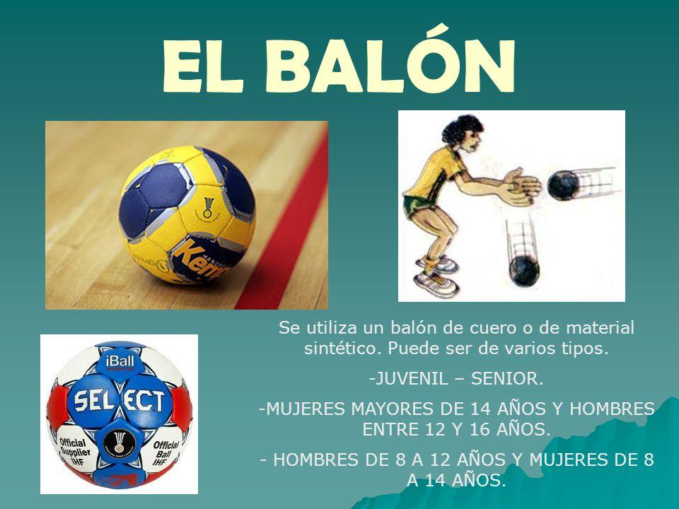 EL BALÓN Se utiliza un balón de cuero o de material sintético. Puede ser de varios tipos. JUVENIL – SENIOR.